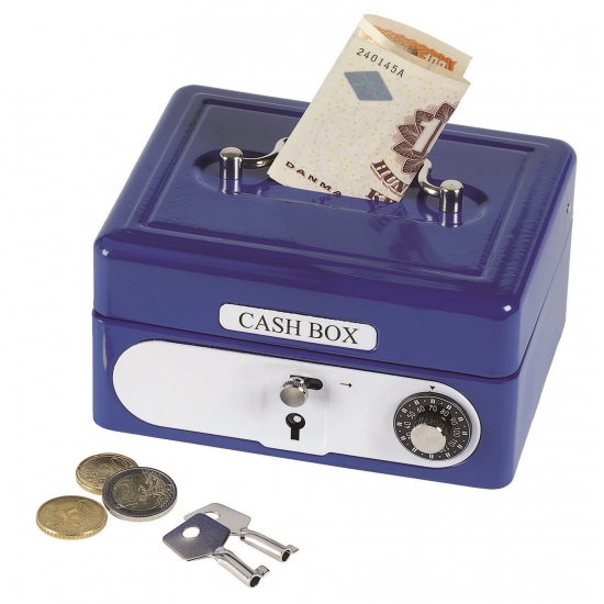 Spaarpotten geldkistje blauw