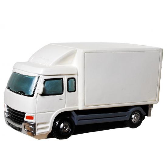 Spaarvarken vrachtauto wit