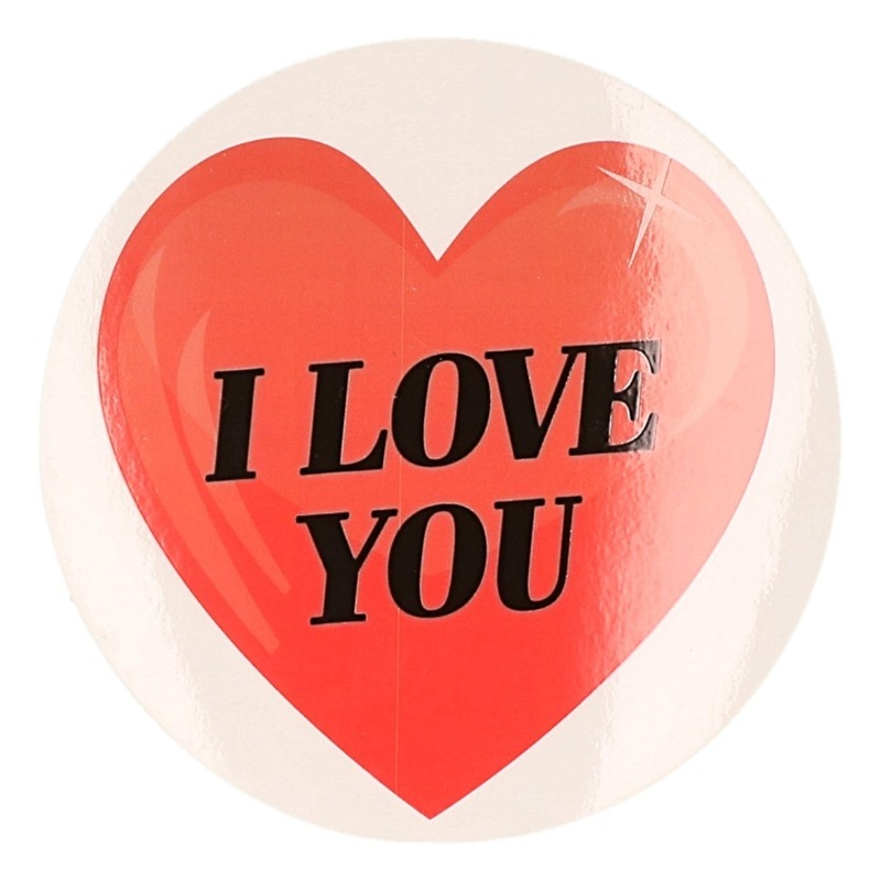 Valentijnskado sticker I Love You hartje 9 cm