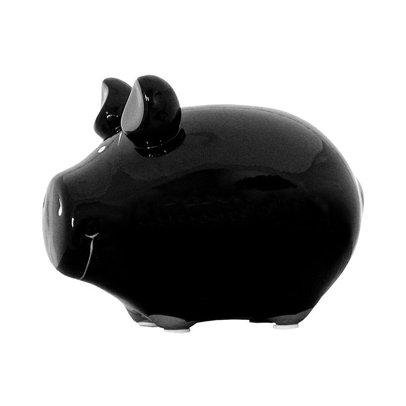 Varkens/biggen dieren spaarpotten zwart 12 cm