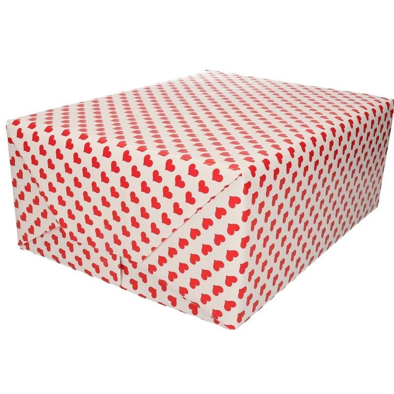 Verjaardag cadeaupapier rode harten print 200 cm