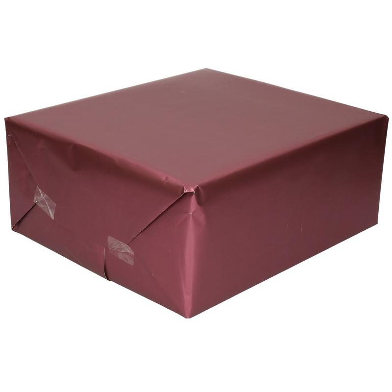 Verjaardag kadopapier unikleur aubergine/pruimen paars 150 x 70 cm met luxe zijdeglans afwerking