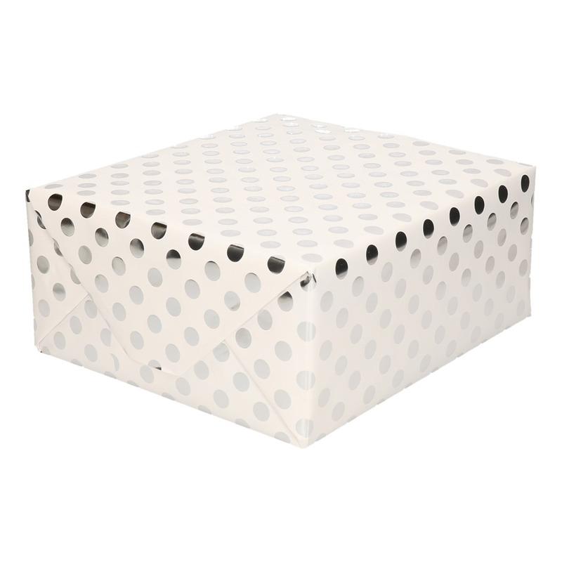 Wit folie geschenkpapier zilveren stip 200 x 70 cm