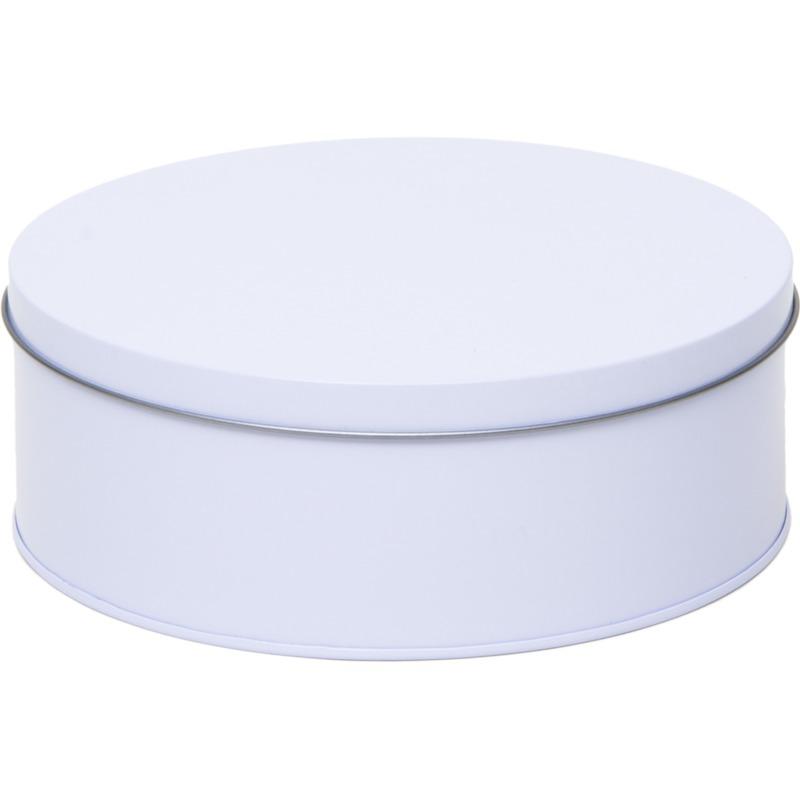 Wit rond bewaarblik/opbergblik 18 cm