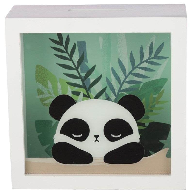Witte spaarpot met raam pandabeer 18x18 cm