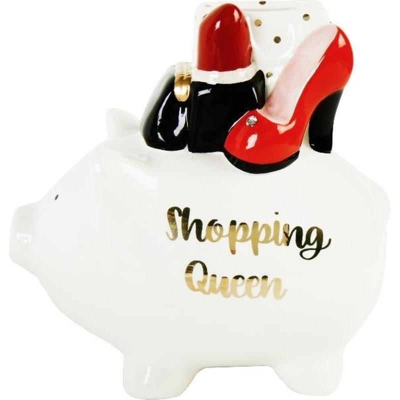 Witte spaarvarken shopping queen 17 cm