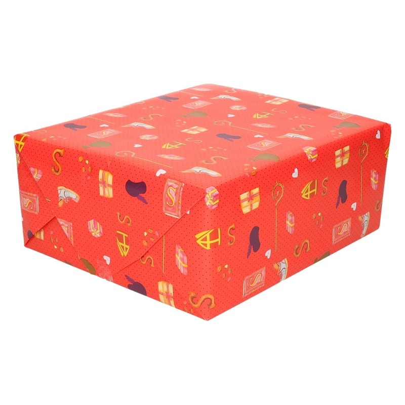 XL Inpakpapier/cadeaupapier Sinterklaas print rood 2,5 x 0,7 meter 70 gram luxe kwaliteit