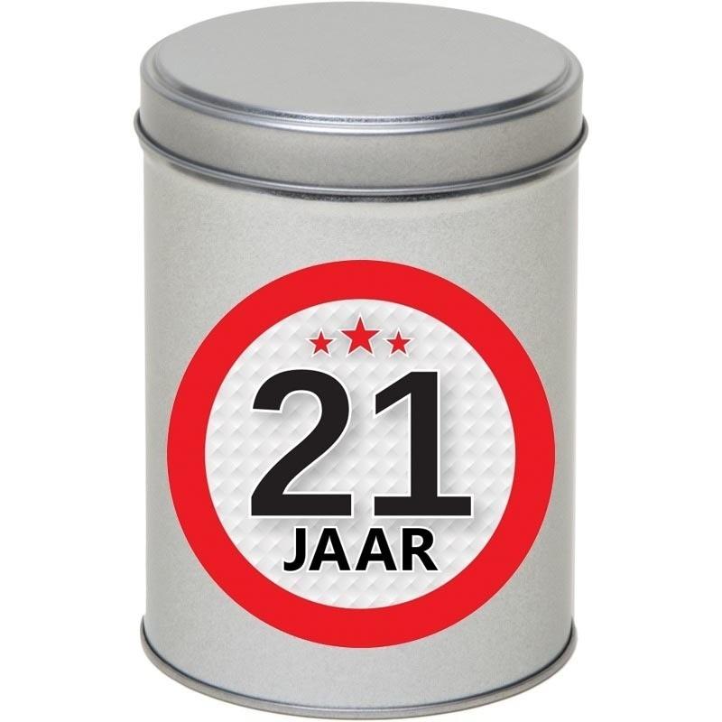 Zilver bewaarblik/opbergblik 13 cm met 21 jaar sticker