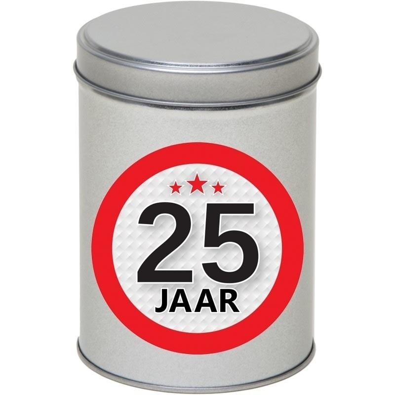 Zilver bewaarblik/opbergblik 13 cm met 25 jaar sticker