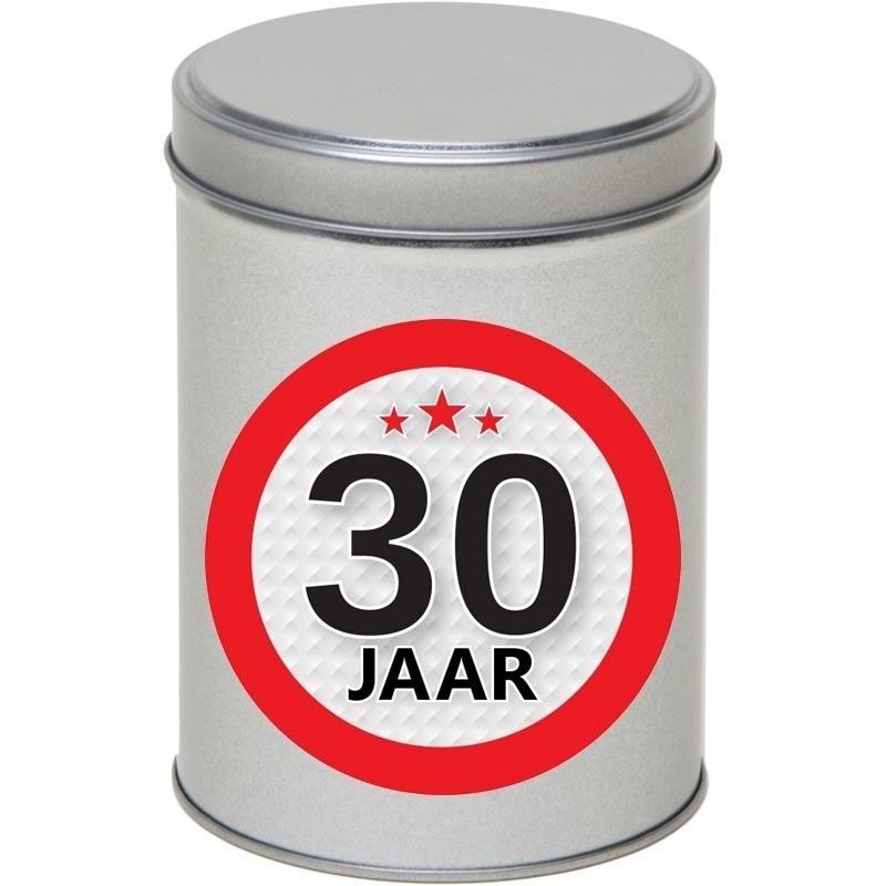 Zilver bewaarblik/opbergblik 13 cm met 30 jaar sticker