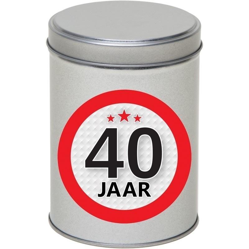 Zilver bewaarblik/opbergblik 13 cm met 40 jaar sticker