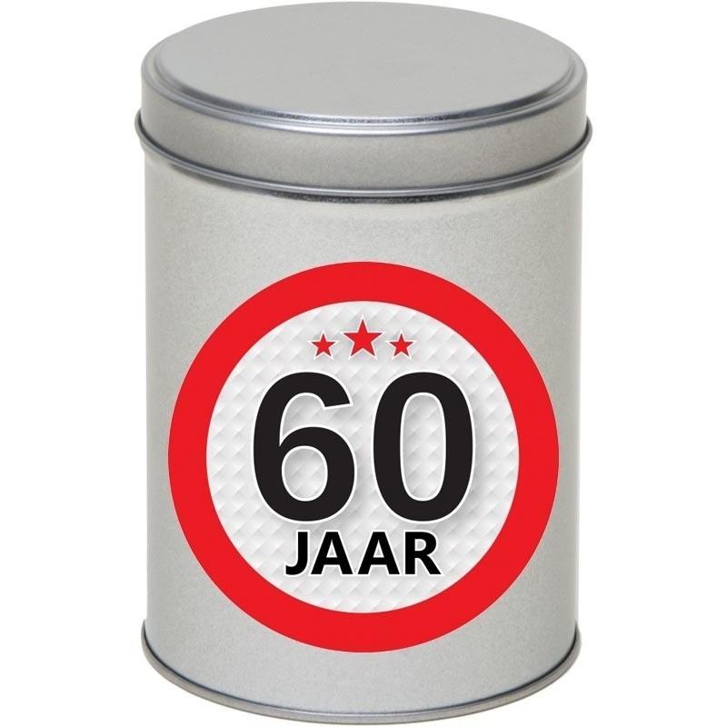 Zilver bewaarblik/opbergblik 13 cm met 60 jaar sticker