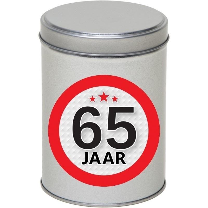 Zilver bewaarblik/opbergblik 13 cm met 65 jaar sticker