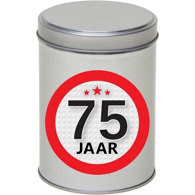 Zilver bewaarblik/opbergblik 13 cm met 75 jaar sticker