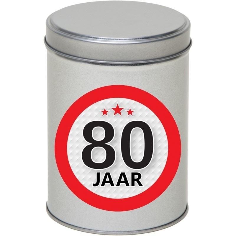 Zilver bewaarblik/opbergblik 13 cm met 80 jaar sticker