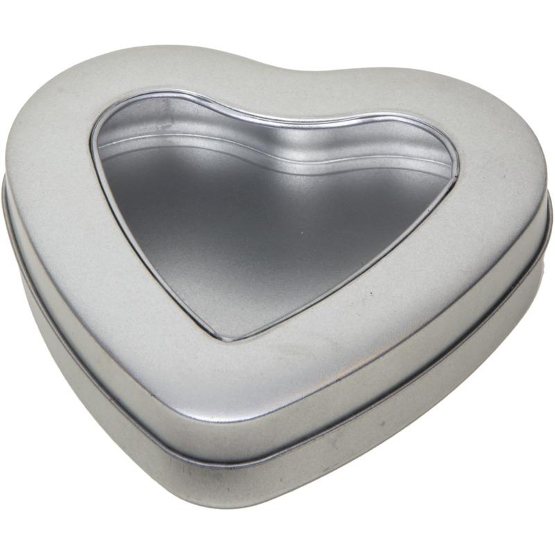 Zilver hart bewaarblik/opbergblik 13 cm met doorzichtig venster