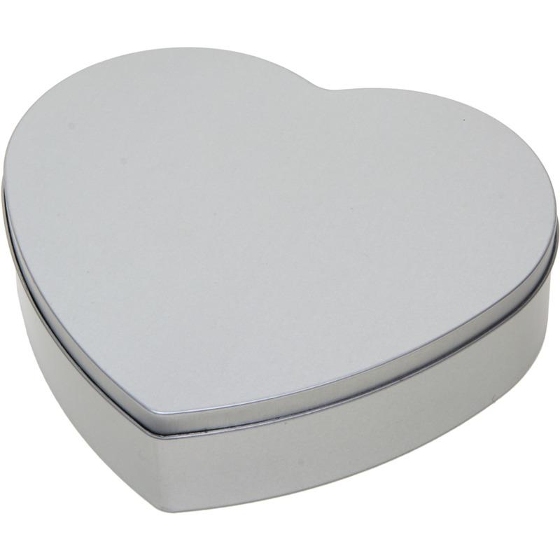 Zilver hart bewaarblik/opbergblik 18 cm