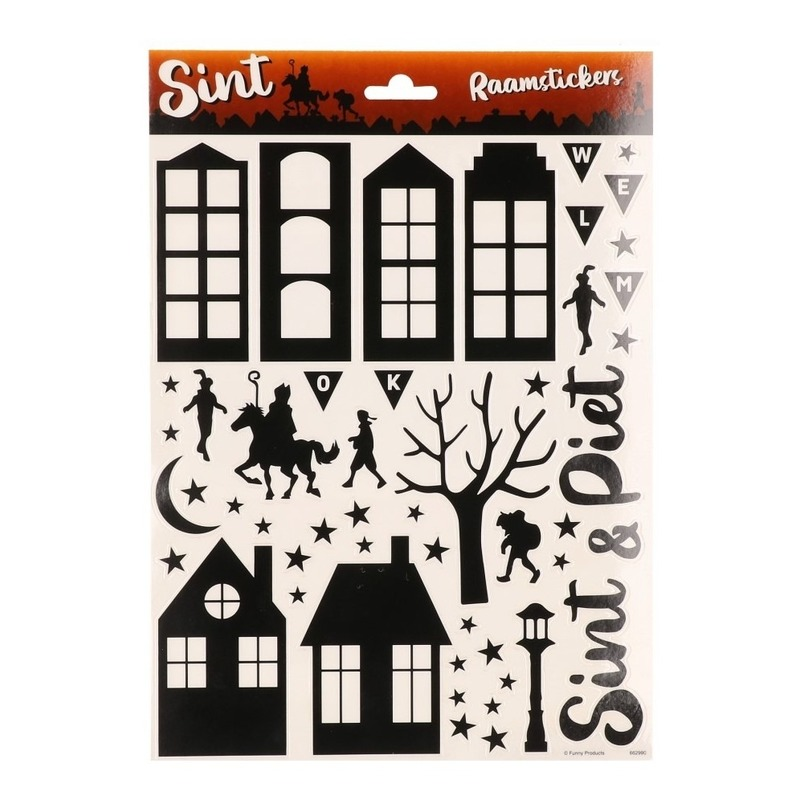 Zwarte raamstickers Sint en Piet